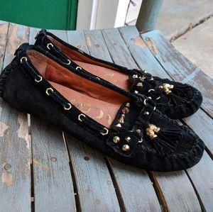 Sam Edelman Black Leather Studded Mocassins Size 7